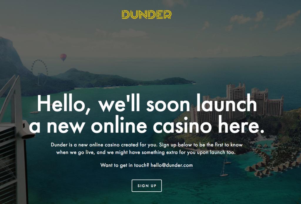 Så här ser Dunder Casino ut